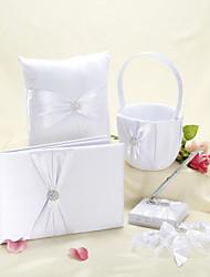 Elegant Wedding Collection Set in White Satin (5 Pieces)