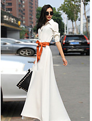 Verragee Extra Long Slim Dress Without Belt(White)