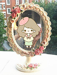 "10.75""Floral Bloom Style Polyresin Tabletop Mirror With Diamond"