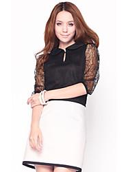 De unifo Mostrar Mujeres media manga cuello redondo de encaje Negro Camiseta