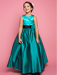 A-line Princess Floor-length Flower Girl Dress - Satin Tulle Jewel with Flower(s)