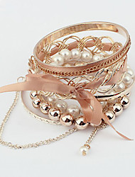 Korean Ribbon Bowknot Pearl Multilayer Bracelet(More Colors)