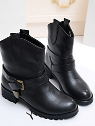 Leather Fashion Short Boots (Schwarz)