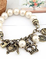 Vintage Pearl With Crown Keys Locks Charm Bracelet
