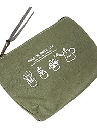Cotton and Linen Army Green Flower Change Purse