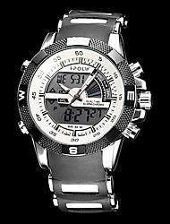 Military Style reloj de los hombres de múltiples funciones de acero de la Ronda Dial Rubber Band analógico-digital de pulsera (colores surtidos)