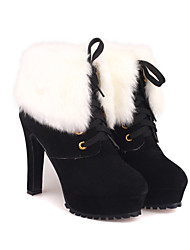 Babiniu Damen Schwarz Over Fur Schnürschuhe Stiletto Short Boots