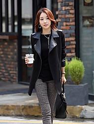 Traumfrauen-elegante dünne lange Hülsen-Tweed-Mantel (schwarz)