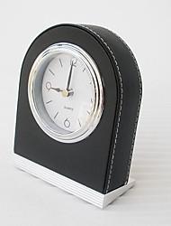 "8""Modern Style Black Polyresin Analog Tabletop Clock"