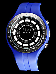 Men's Whirlwind Style Blue LED Digital Rubber Band Wrist Watch (Assorted Colors)