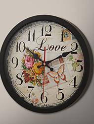 "12 ""H Black Frame borboleta e pintura de Rosa Relógio de parede"