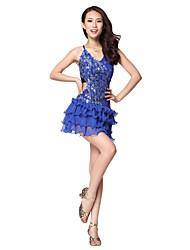 Dancewear Viscose Latin Dance Dress With Rhinestones For Ladies