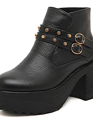 Faux Leather Chunky Heel Combat Ankle Boots
