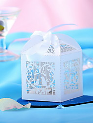 White Lovebirds Hollow-out Design Wedding Favor Boxes-Set of 10
