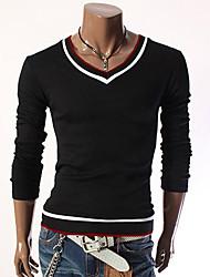 KICAI Men's Korean Style Slimming Slong Sleeve T-Shirt(Black)