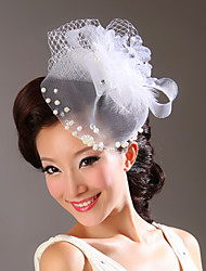 Fabric/Tulle Flowers with Imitation Pearl Wedding Headpieces