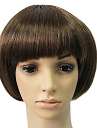 Capless Synthetic Brown Short Straight Bob Wig