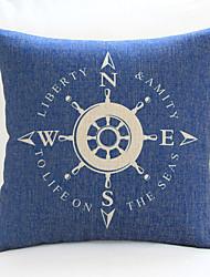 "18"" 20"" Nautical Compass Sign Blue Cotton/Linen Decorative Pillow Cover"