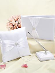 Elegant Wedding Collection Set in White Satin (3 Pieces)