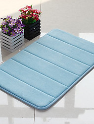 "Bath Mat Memory Foam Stripe Pattern 16x24"" Sky Blue"