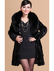 Long Sleeve Shawl Mink Fur Party/Casual Coat