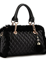 OUDI Women's Black Pu Leather Cony Hair Diamond Check Chain Shoulder Bag