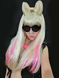 Ladygaga Style Flaxen Bowknot Straight Long Wig