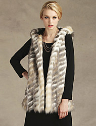 Fur Vest With Sleeveless Hooded In Faux Fur Party/Casual Vest
