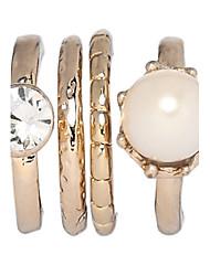 Anéis Festa Diário Jóias Liga Zircão Feminino Anéis Meio Dedo 4pçs,7 8 Dourado