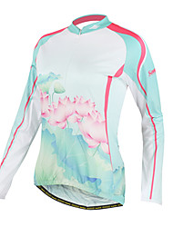 SANTIC-Women's 100% Polyester Long Sleeve Lotus Pattern Cycling Jacket