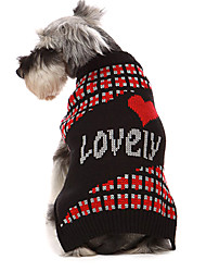 Dog Sweater Red / Black Dog Clothes Winter Hearts