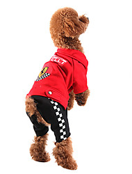 Dog Clothes/Jumpsuit Red Black Dog Clothes Winter Spring/Fall Color Block Fashion