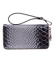 WeiZi Elegant Contrast Color Serpentine Genuine Leather Zipper Wallet
