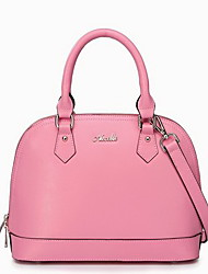 NUCELLE Women's Pink Cowhide Cross Stripe Shell Bag