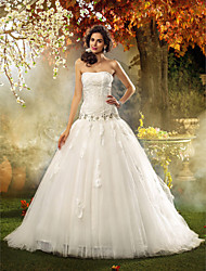 Lan Ting Fit & Flare Plus Sizes Wedding Dress - Ivory Court Train Strapless Lace/Tulle