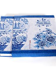 "Azul floral Cerámica Papel Estilo 4 ""* 6"" Album de fotos (480 Pocket)"