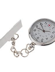 Women's White Dial Quartz Analog Pocket Watch with Pin
