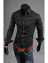 Noir Trois boutons E de JYFZ hommes shirt à manches longues