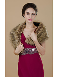 Fur Wraps Shrugs Faux Fur Brown Party/Evening / Casual