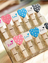 Wedding Décor Wooden Mini Heart&Square Clip - Set of 12 Pieces