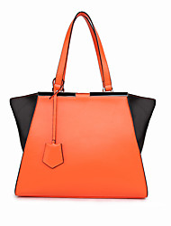 8th PINK Women's Cowhide Orange Ol Style Color Contrast Dumpling Shape Handbag