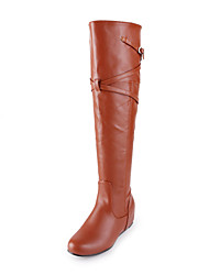 Faux Leather Flat Heel Knee High Boots With Buckle(More Colors)