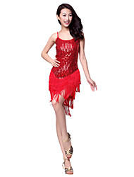 Dancewear Polyester Latin Dance Dress With Sequins For Ladies(More Colors)