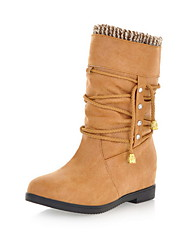 Faux Leather Chunky Heel Combat Mid-Calf Boots (More Colors)