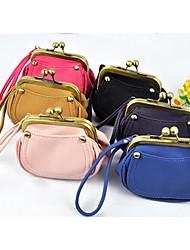 New Korean Woman PU Leather Retro Vintage Mini Hand Bag Coin Bag Change Purse Wallets Wrist Bag Case