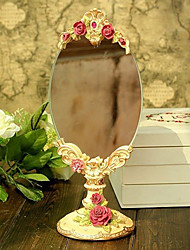 "11""Cute Country Design Floral Style Polyresin Tabletop Mirror"