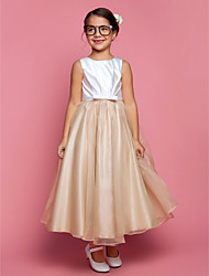 A-Line Princess Ankle Length Flower Girl Dress - Organza Satin Sleeveless Jewel Neck with Draping by LAN TING BRIDE®