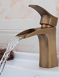 Antique Brass Wasserfall Waschbecken Wasserhahn