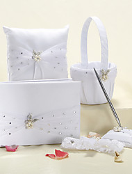 5 Collection Set White Guest Book / Pen Set / Ring Pillow / Flower Basket / Garter