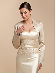 Wedding  Wraps Coats/Jackets Long Sleeve Satin Champagne Wedding / Party/Evening / Casual T-shirt Beading / Sequin Open Front